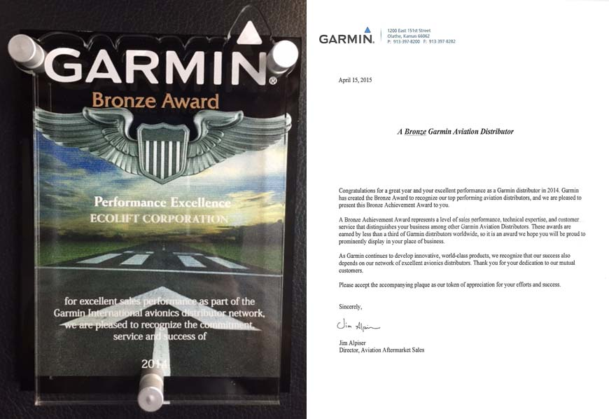 Ecolift Corporation received Garmin Bronze Award